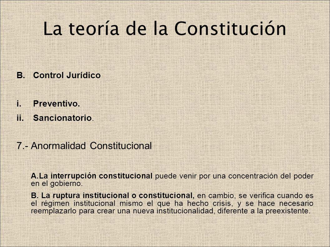 La teoría de la Constitución B.Control Jurídico i.Preventivo. ii.Sancionatorio. 7.- Anormalidad Constitucional A.La interrupción constitucional puede