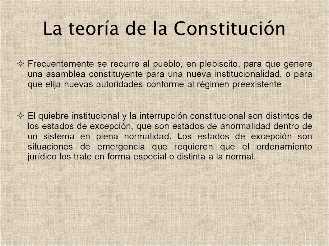 La teoría de la Constitución Frecuentemente se recurre al pueblo, en plebiscito, para que genere una asamblea constituyente para una nueva institucion