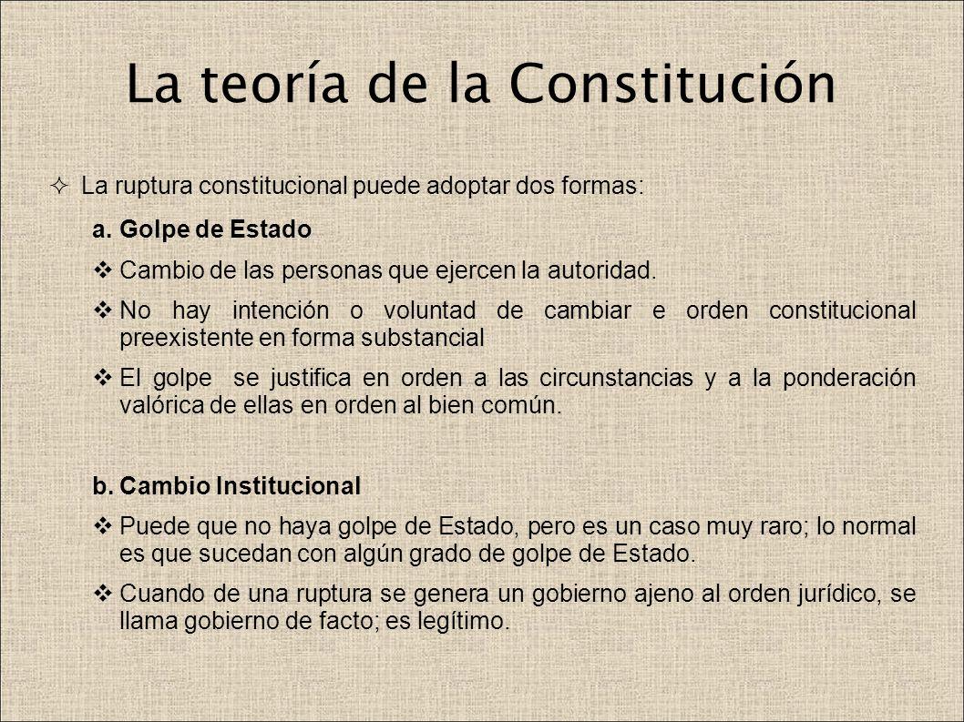 La teoría de la Constitución La ruptura constitucional puede adoptar dos formas: a.Golpe de Estado Cambio de las personas que ejercen la autoridad. No