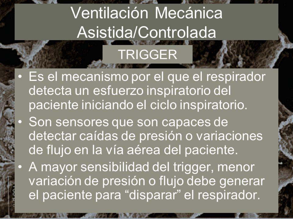 Ventilación Mecánica Asistida/Controlada Es el mecanismo por el que el respirador detecta un esfuerzo inspiratorio del paciente iniciando el ciclo ins