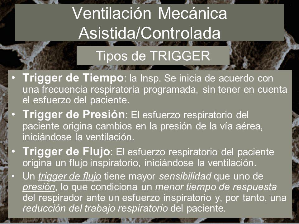 Ventilación Mecánica Asistida/Controlada Trigger de Tiempo : la Insp. Se inicia de acuerdo con una frecuencia respiratoria programada, sin tener en cu