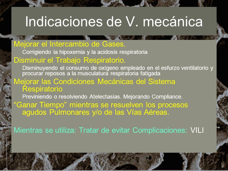 Indicaciones de V. mecánica Mejorar el Intercambio de Gases. Corrigiendo la hipoxemia y la acidosis respiratoria Disminuir el Trabajo Respiratorio. Di
