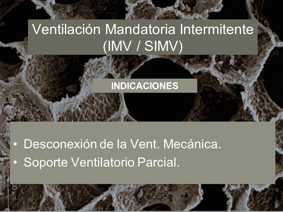 Ventilación Mandatoria Intermitente (IMV / SIMV) Desconexión de la Vent. Mecánica. Soporte Ventilatorio Parcial. INDICACIONES