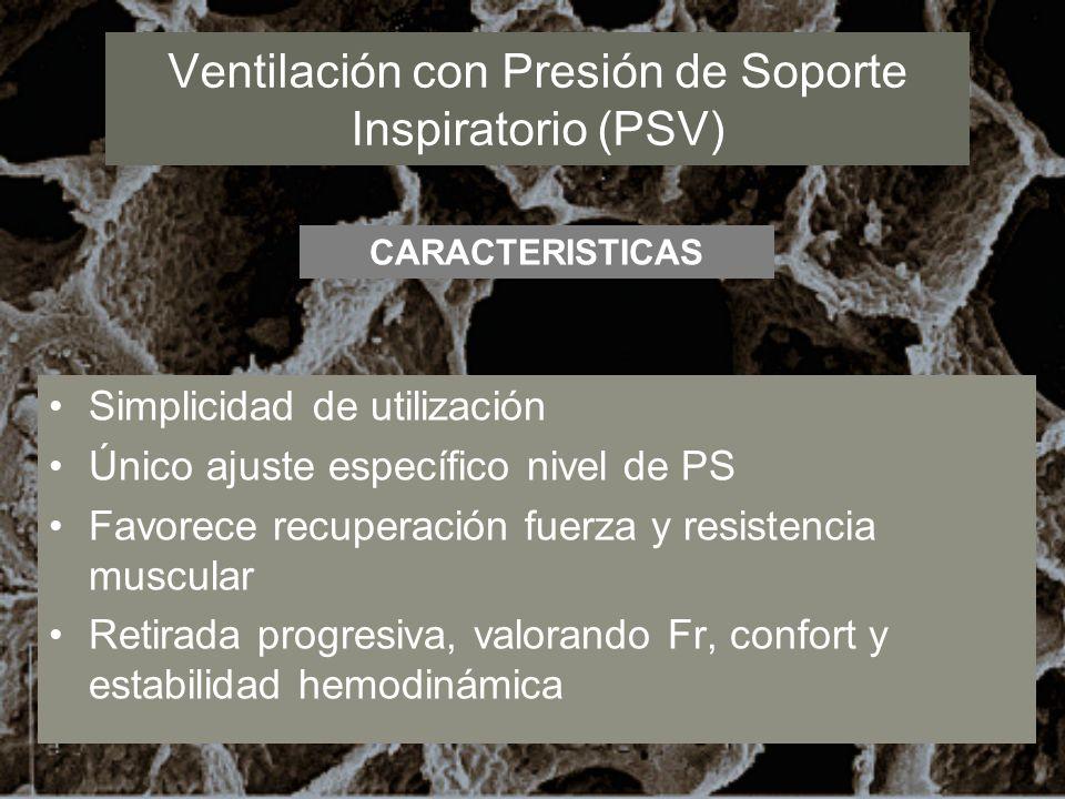 Ventilación con Presión de Soporte Inspiratorio (PSV) Simplicidad de utilización Único ajuste específico nivel de PS Favorece recuperación fuerza y re