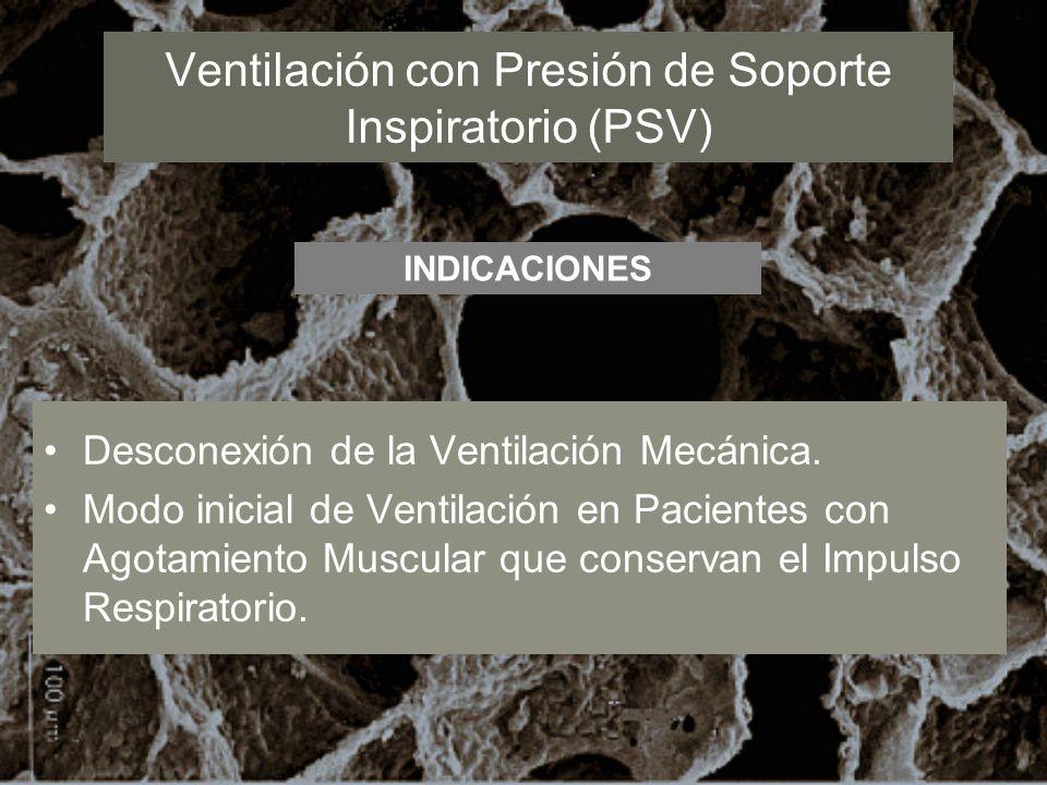 Ventilación con Presión de Soporte Inspiratorio (PSV) Desconexión de la Ventilación Mecánica. Modo inicial de Ventilación en Pacientes con Agotamiento