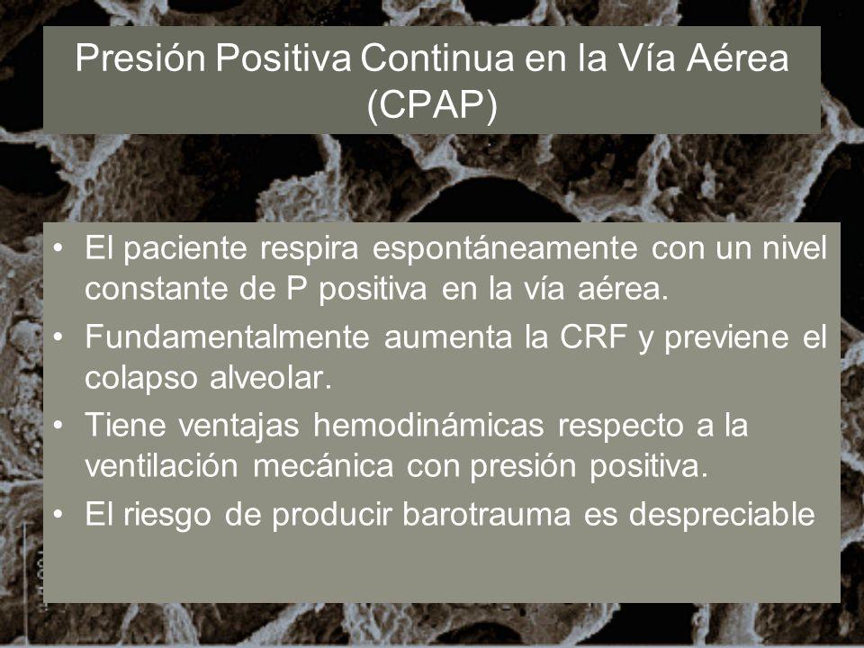 Presión Positiva Continua en la Vía Aérea (CPAP) El paciente respira espontáneamente con un nivel constante de P positiva en la vía aérea. Fundamental
