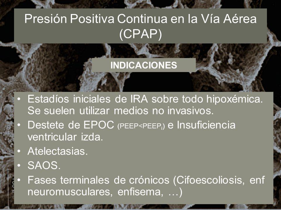 Presión Positiva Continua en la Vía Aérea (CPAP) Estadíos iniciales de IRA sobre todo hipoxémica. Se suelen utilizar medios no invasivos. Destete de E