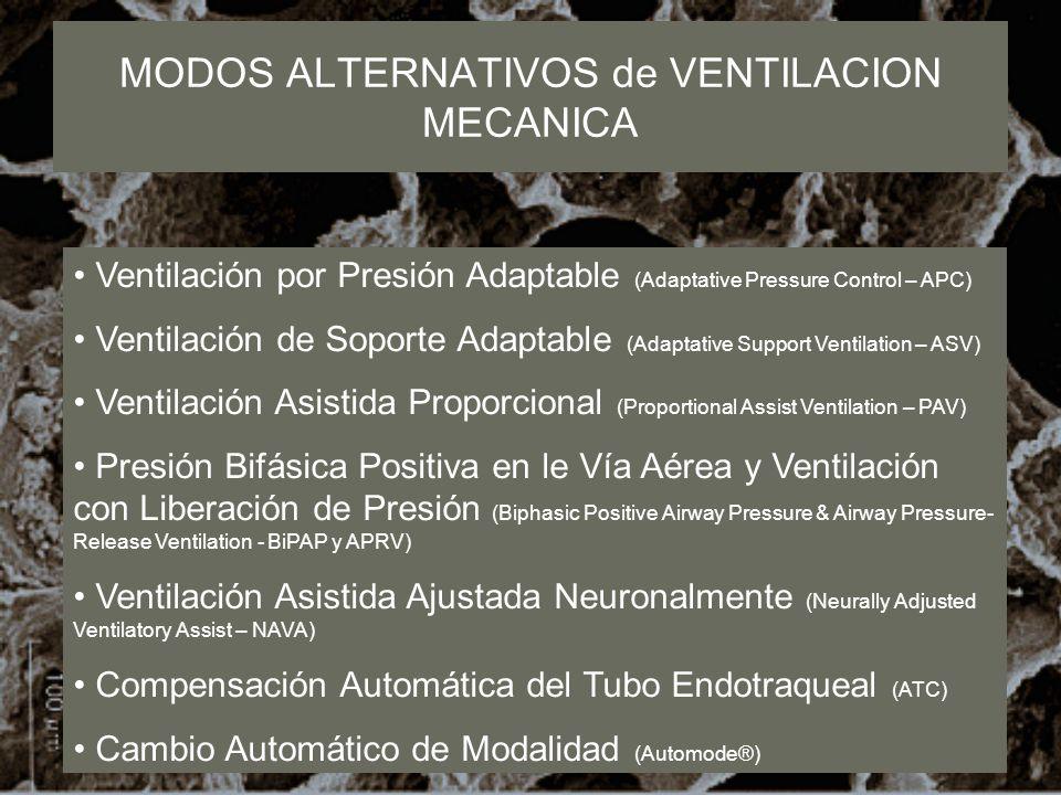 MODOS ALTERNATIVOS de VENTILACION MECANICA Ventilación por Presión Adaptable (Adaptative Pressure Control – APC) Ventilación de Soporte Adaptable (Ada