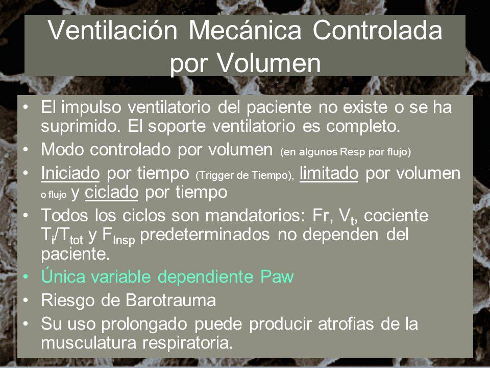 Ventilación Mecánica Controlada por Volumen El impulso ventilatorio del paciente no existe o se ha suprimido. El soporte ventilatorio es completo. Mod
