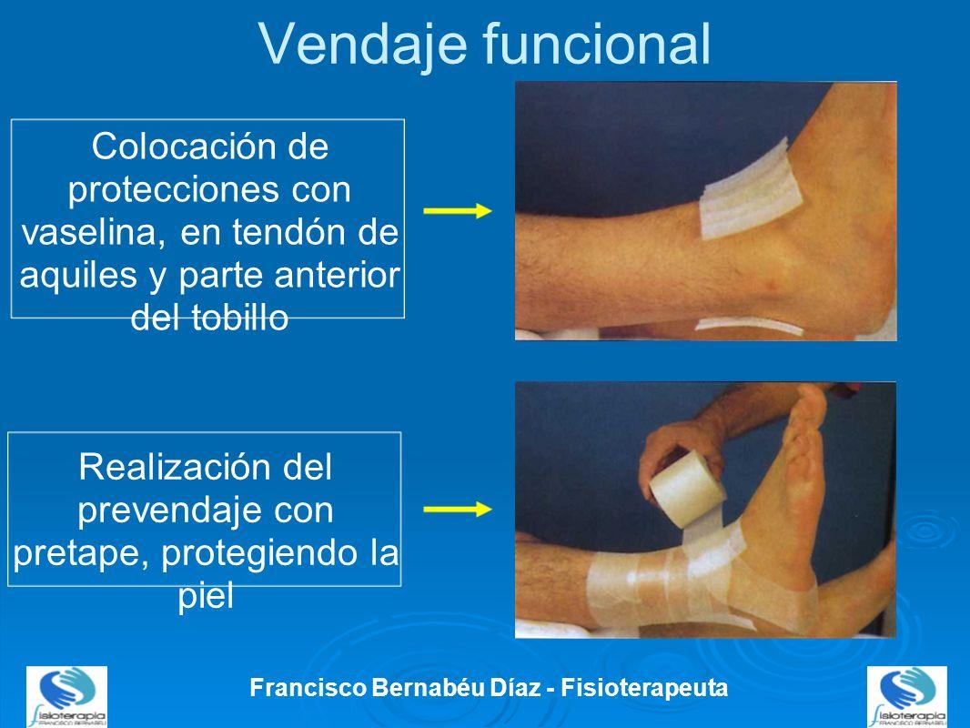 Vendaje funcional Francisco Bernabéu Díaz - Fisioterapeuta Colocación de protecciones con vaselina, en tendón de aquiles y parte anterior del tobillo