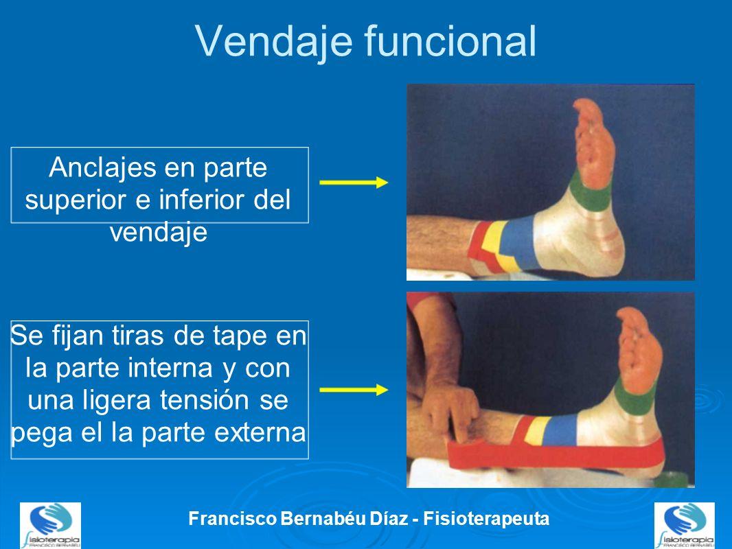 Vendaje funcional Francisco Bernabéu Díaz - Fisioterapeuta Anclajes en parte superior e inferior del vendaje Se fijan tiras de tape en la parte intern