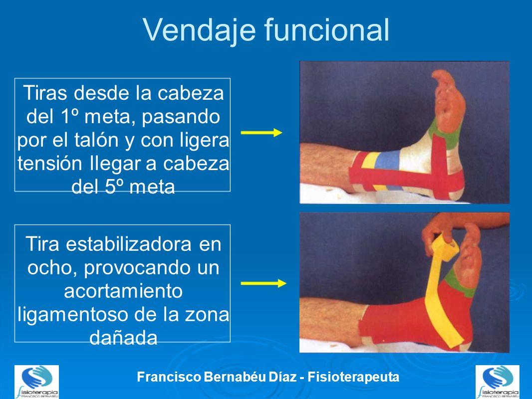 Vendaje funcional Francisco Bernabéu Díaz - Fisioterapeuta Tiras desde la cabeza del 1º meta, pasando por el talón y con ligera tensión llegar a cabez