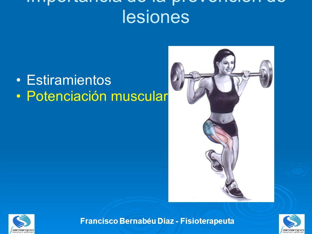 Importancia de la prevención de lesiones Francisco Bernabéu Díaz - Fisioterapeuta Estiramientos Potenciación muscular