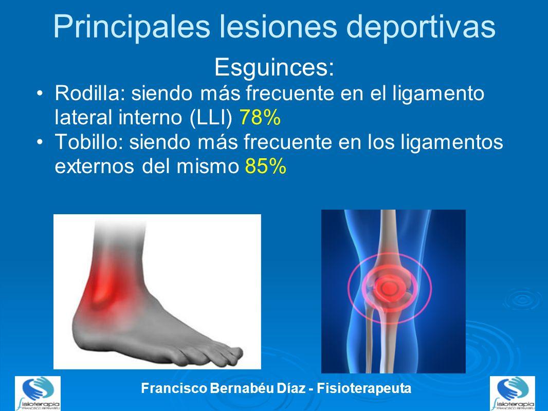 Principales lesiones deportivas Esguinces: Rodilla: siendo más frecuente en el ligamento lateral interno (LLI) 78% Tobillo: siendo más frecuente en lo