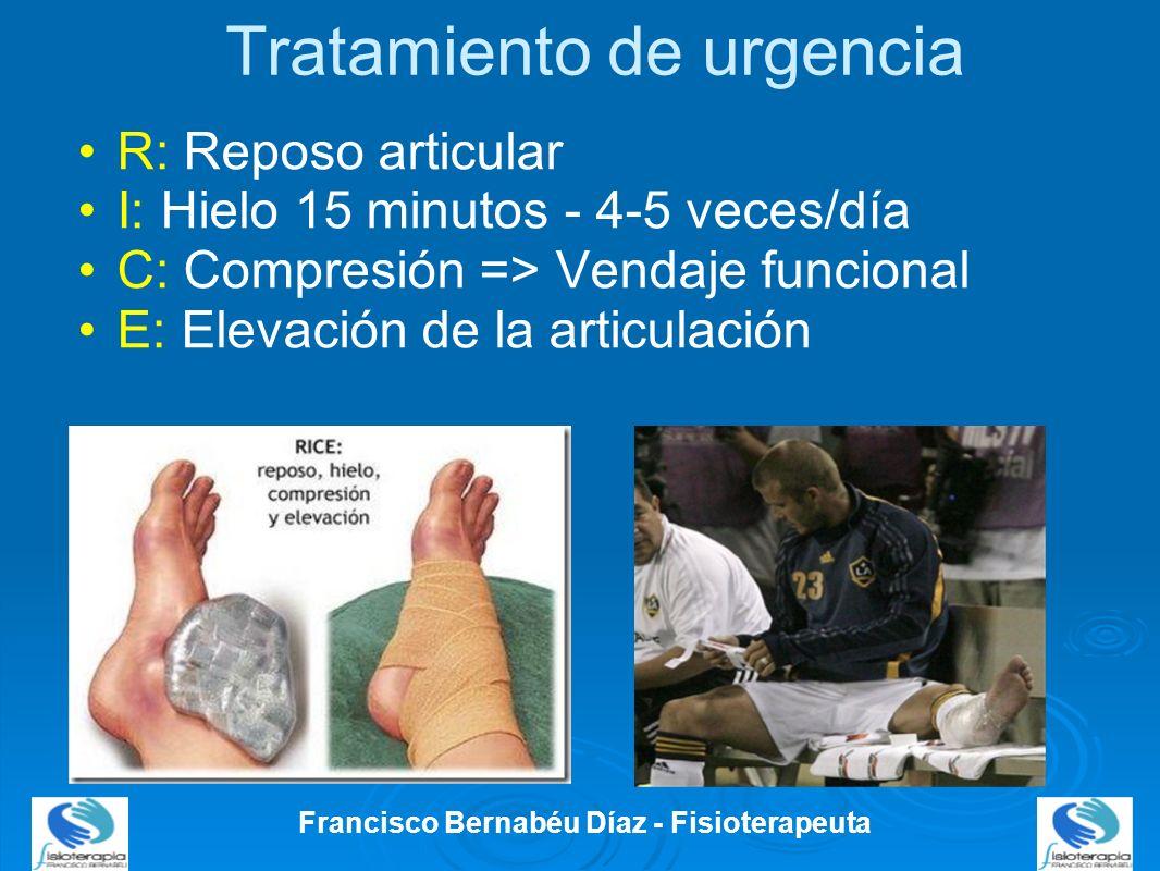 Tratamiento de urgencia R: Reposo articular I: Hielo 15 minutos - 4-5 veces/día C: Compresión => Vendaje funcional E: Elevación de la articulación Fra