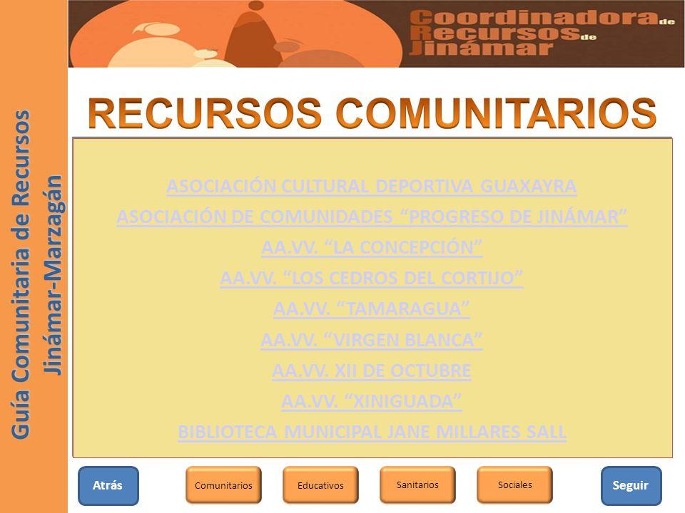AtrásSeguir Educativos SanitariosSociales Comunitarios Guía Comunitaria de Recursos Jinámar-Marzagán ASOCIACIÓN CULTURAL DEPORTIVA GUAXAYRA ASOCIACIÓN