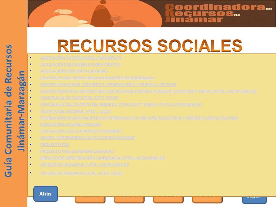 Seguir Educativos SanitariosSociales Comunitarios Guía Comunitaria de Recursos Jinámar-Marzagán ASOCIACIÓN ACCIÓN SOCIAL EVANGÉLICA ASOCIACIÓN DE MUJE