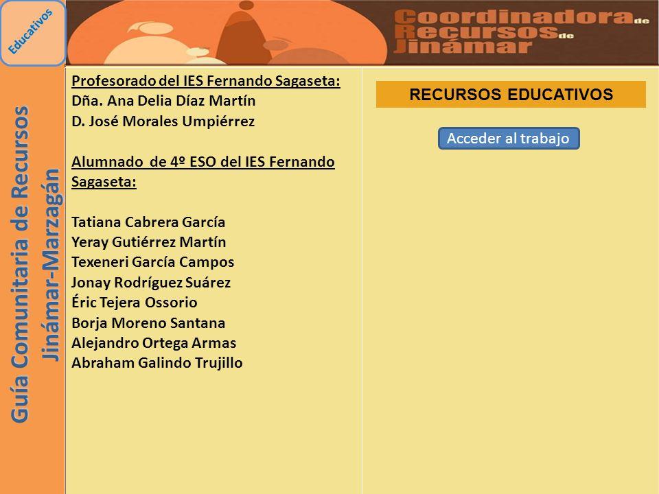 Guía Comunitaria de Recursos Jinámar-Marzagán Educativos Profesorado del IES Fernando Sagaseta: Dña. Ana Delia Díaz Martín D. José Morales Umpiérrez A