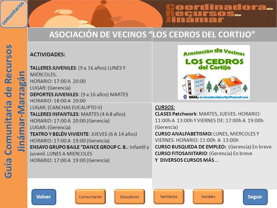 ASOCIACIÓN DE VECINOS LOS CEDROS DEL CORTIJO ACTIVIDADES: TALLERES JUVENILES: (9 a 16 años) LUNES Y MIÉRCOLES. HORARIO: 17:00 A 20:00 LUGAR: (Gerencia