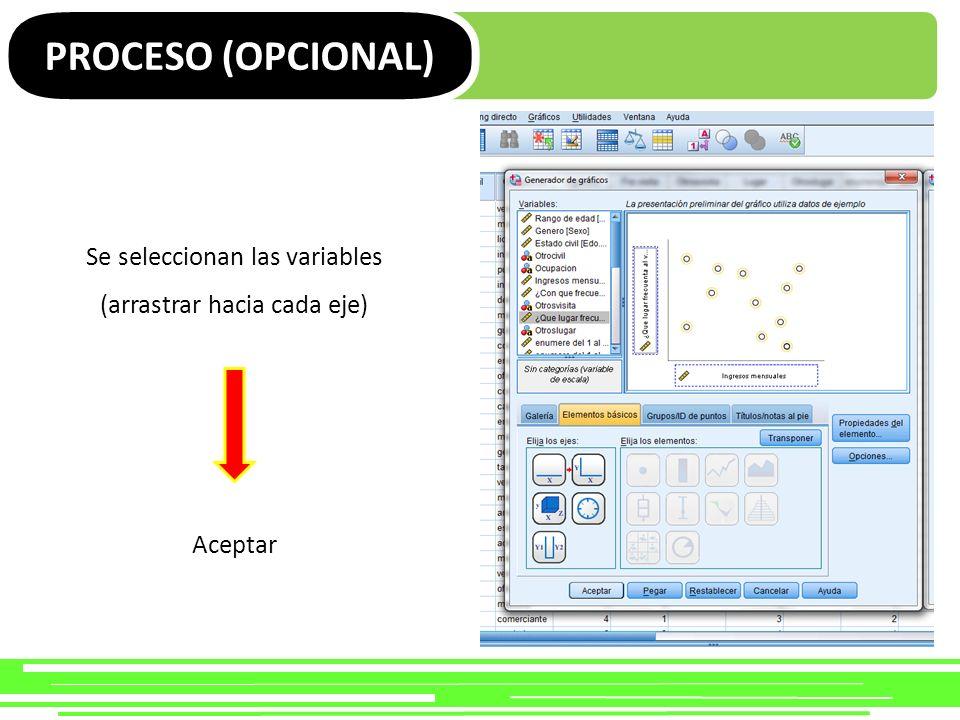 PROCESO (OPCIONAL) Se seleccionan las variables (arrastrar hacia cada eje) Aceptar