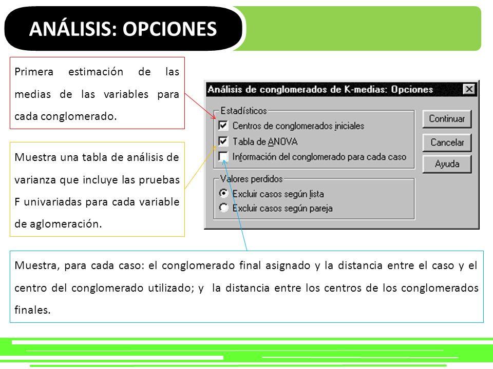 ANÁLISIS: OPCIONES Primera estimación de las medias de las variables para cada conglomerado. Muestra una tabla de análisis de varianza que incluye las