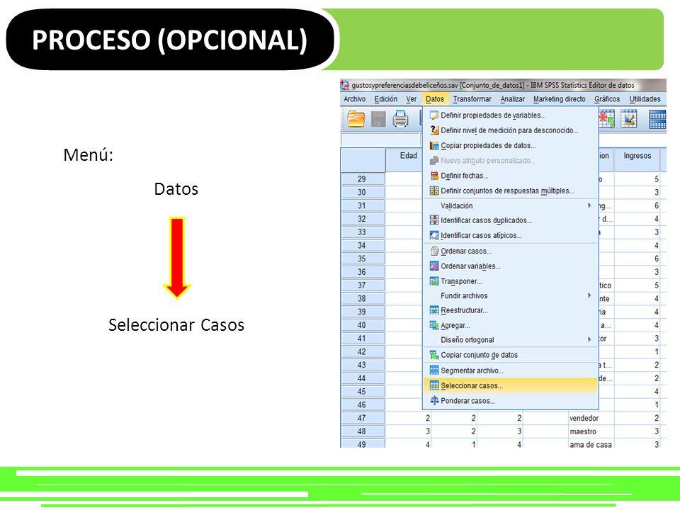 PROCESO (OPCIONAL) Muestra aleatoria de casos Ejemplo…