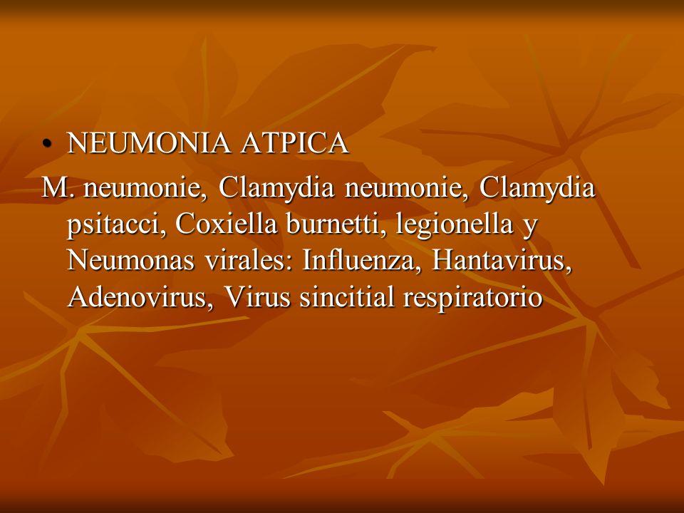 NEUMONIA ATPICANEUMONIA ATPICA M. neumonie, Clamydia neumonie, Clamydia psitacci, Coxiella burnetti, legionella y Neumonas virales: Influenza, Hantavi