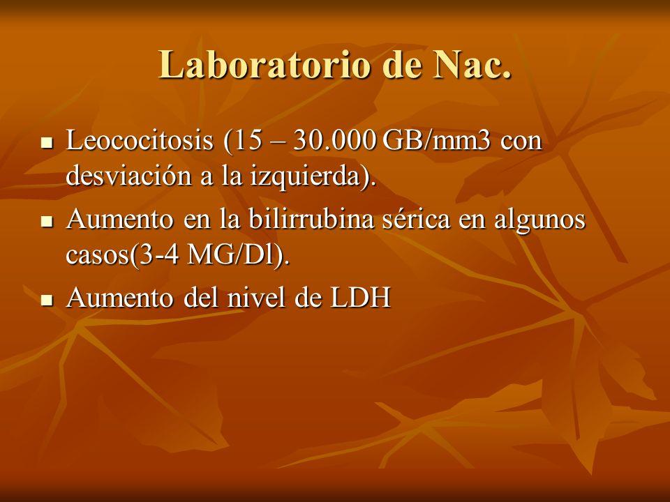 Laboratorio de Nac. Leococitosis (15 – 30.000 GB/mm3 con desviación a la izquierda). Leococitosis (15 – 30.000 GB/mm3 con desviación a la izquierda).
