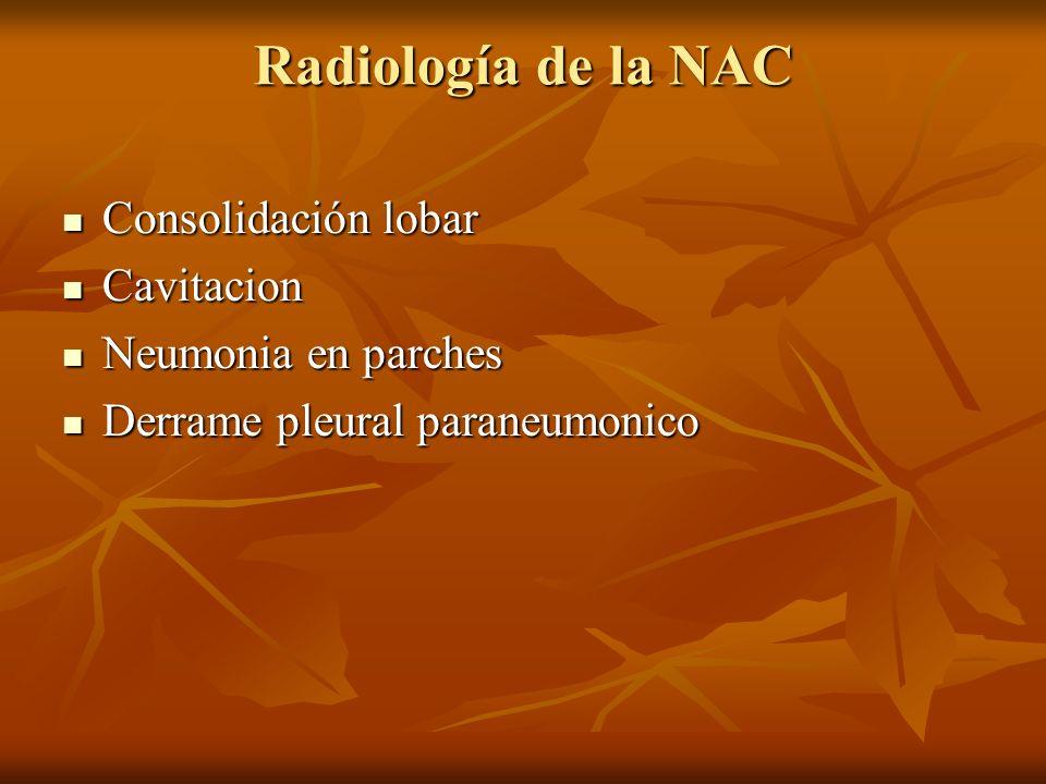 Radiología de la NAC Consolidación lobar Consolidación lobar Cavitacion Cavitacion Neumonia en parches Neumonia en parches Derrame pleural paraneumonico Derrame pleural paraneumonico