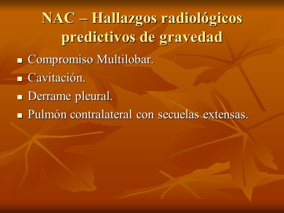 NAC – Hallazgos radiológicos predictivos de gravedad Compromiso Multilobar.