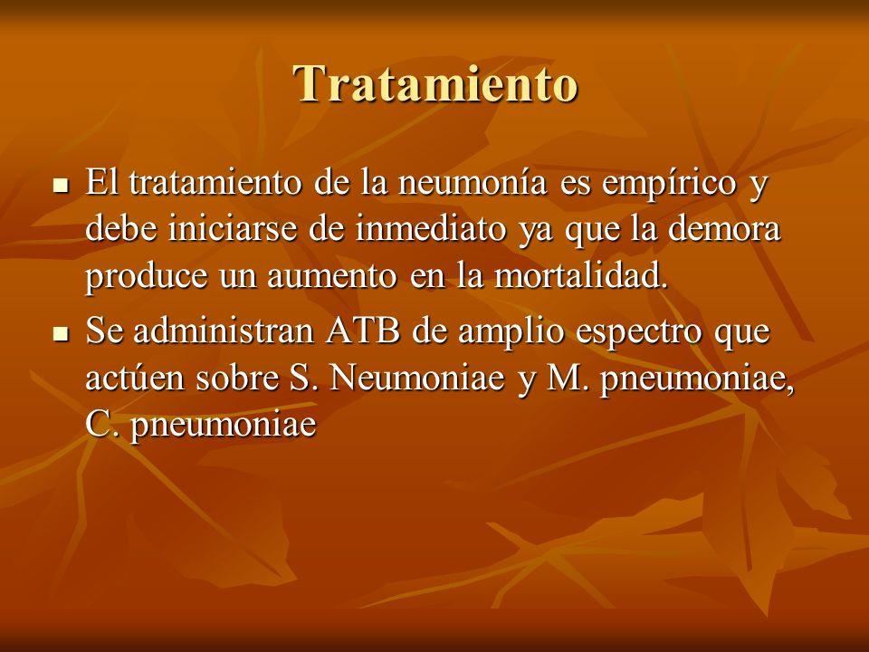 Tratamiento El tratamiento de la neumonía es empírico y debe iniciarse de inmediato ya que la demora produce un aumento en la mortalidad. El tratamien