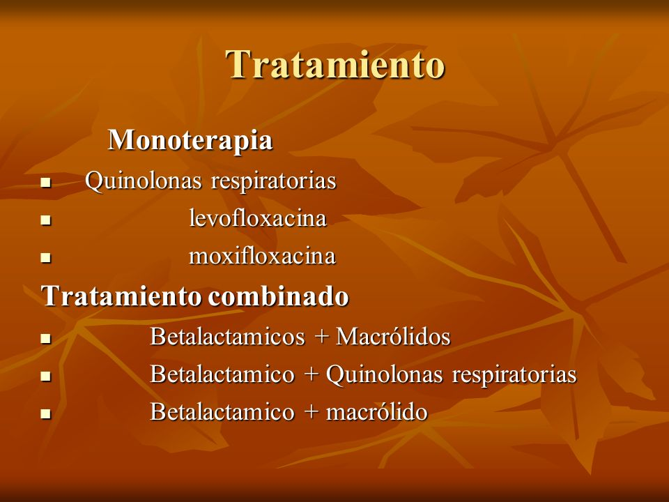 Tratamiento Monoterapia Monoterapia Quinolonas respiratorias Quinolonas respiratorias levofloxacina levofloxacina moxifloxacina moxifloxacina Tratamie