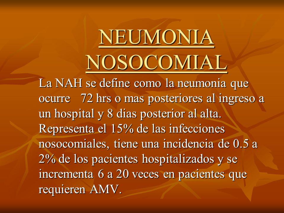 NEUMONIA NOSOCOMIAL La NAH se define como la neumonia que ocurre 72 hrs o mas posteriores al ingreso a un hospital y 8 dias posterior al alta. Represe