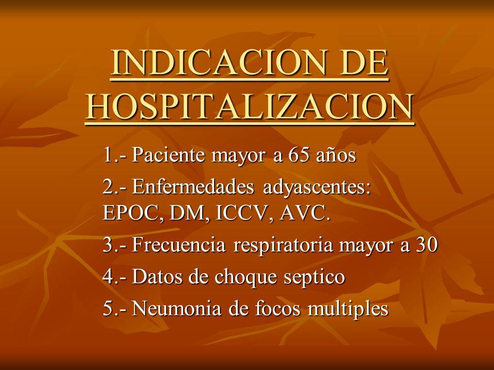INDICACION DE HOSPITALIZACION 1.- Paciente mayor a 65 años 2.- Enfermedades adyascentes: EPOC, DM, ICCV, AVC. 3.- Frecuencia respiratoria mayor a 30 4