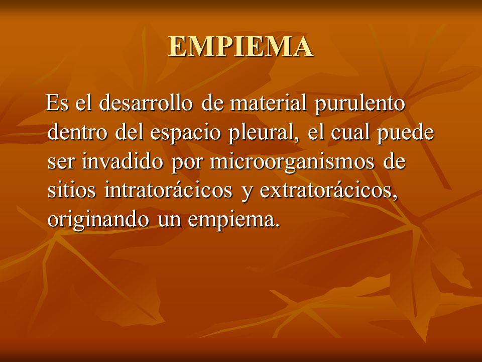 EMPIEMA Es el desarrollo de material purulento dentro del espacio pleural, el cual puede ser invadido por microorganismos de sitios intratorácicos y extratorácicos, originando un empiema.