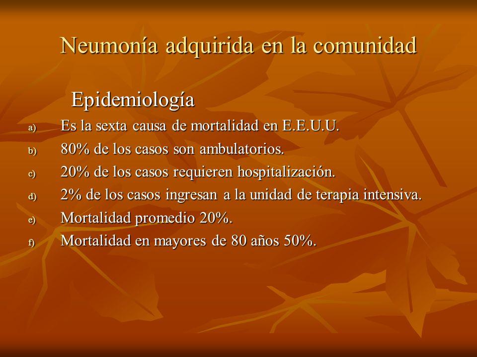 Neumonía adquirida en la comunidad Epidemiología Epidemiología a) Es la sexta causa de mortalidad en E.E.U.U. b) 80% de los casos son ambulatorios. c)