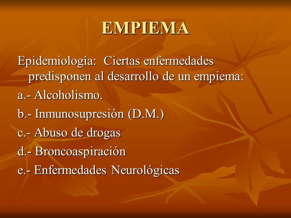 EMPIEMA Epidemiología: Ciertas enfermedades predisponen al desarrollo de un empiema: a.- Alcoholismo. b.- Inmunosupresión (D.M.) c.- Abuso de drogas d