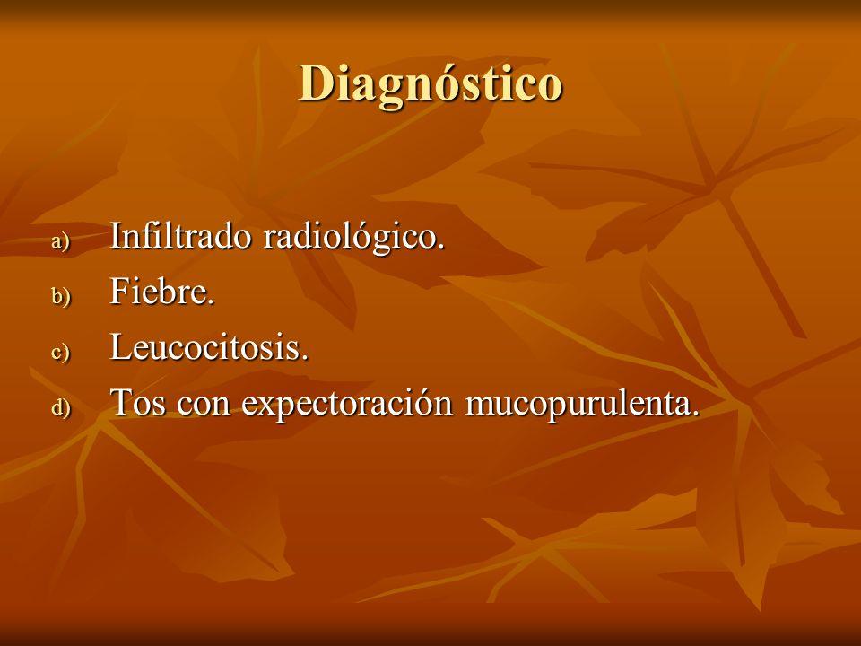 Diagnóstico a) Infiltrado radiológico. b) Fiebre. c) Leucocitosis. d) Tos con expectoración mucopurulenta.