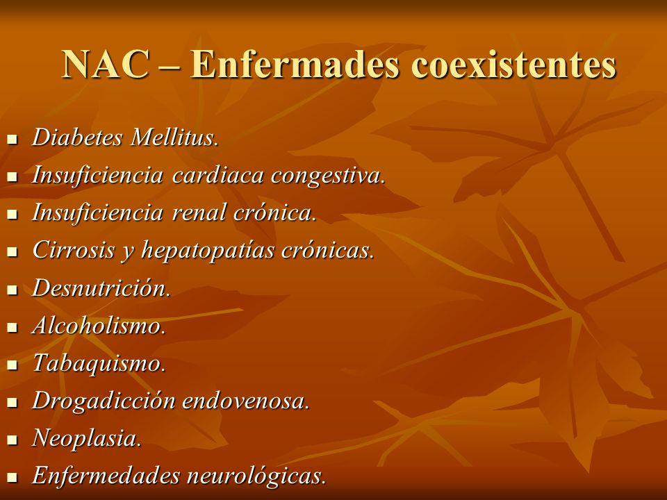 NAC – Enfermades coexistentes NAC – Enfermades coexistentes Diabetes Mellitus. Diabetes Mellitus. Insuficiencia cardiaca congestiva. Insuficiencia car