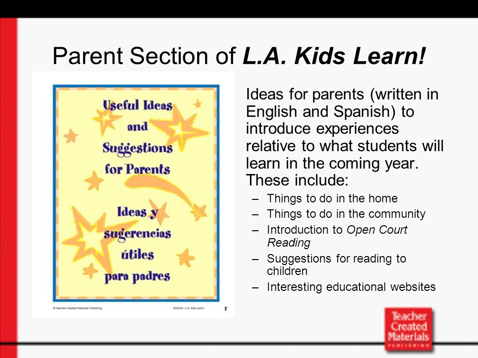 Parent Section of L.A. Kids Learn.