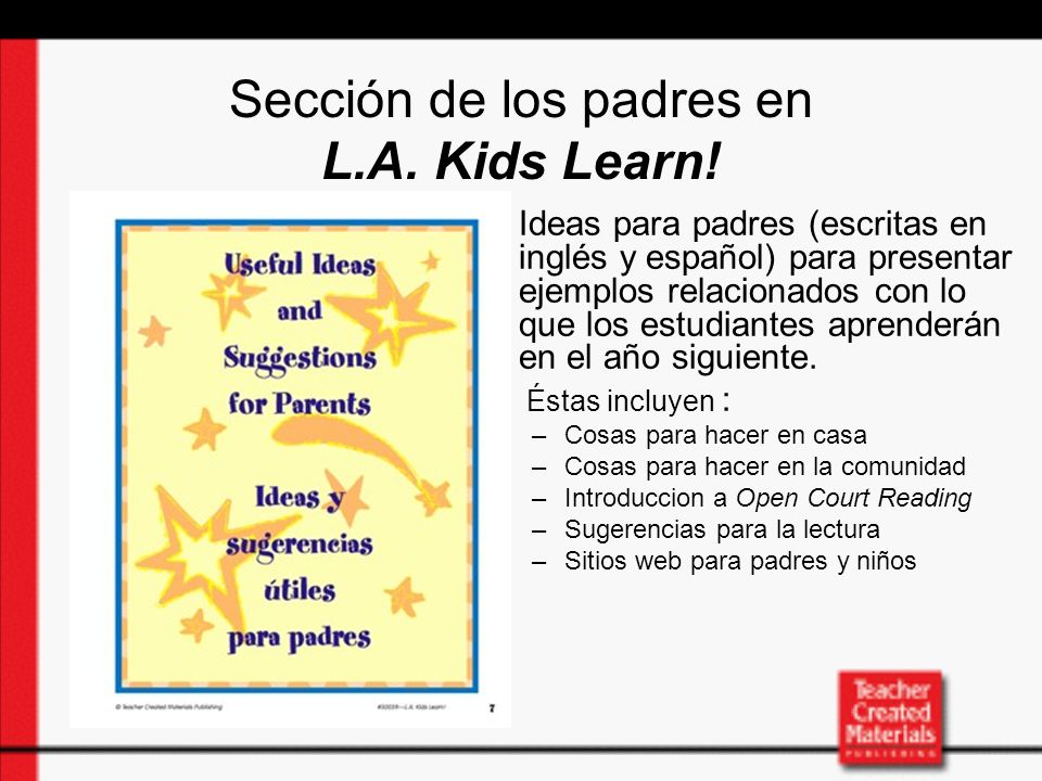 Sección de los padres en L.A.Kids Learn.
