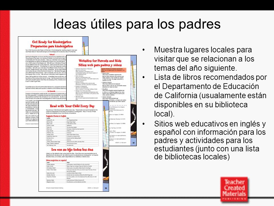 Ideas útiles para los padres Muestra lugares locales para visitar que se relacionan a los temas del año siguiente.