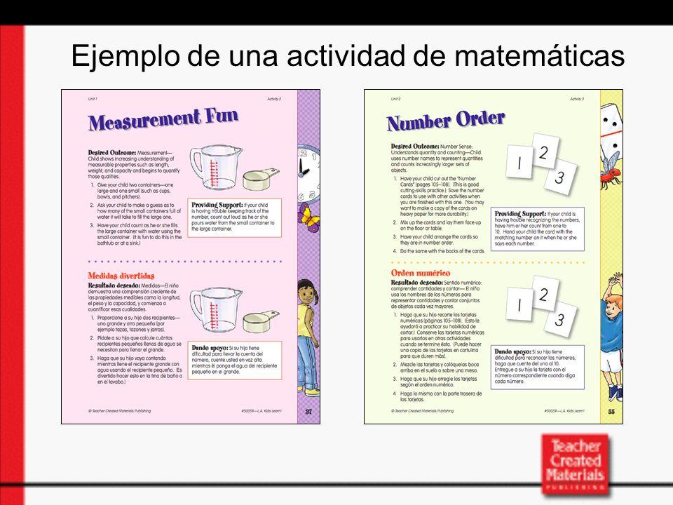 Ejemplo de una actividad de matemáticas
