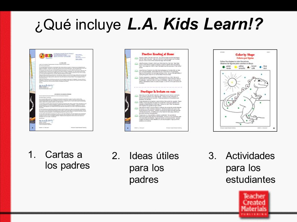 Parent Section of L.A.Kids Learn.