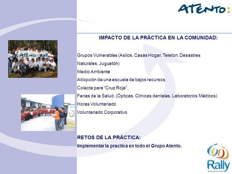 IMPACTO DE LA PRÁCTICA EN LA COMUNIDAD: Grupos Vulnerables (Asilos, Casas Hogar, Teleton, Desastres Naturales, Juguetón) Medio Ambiente Adopción de un
