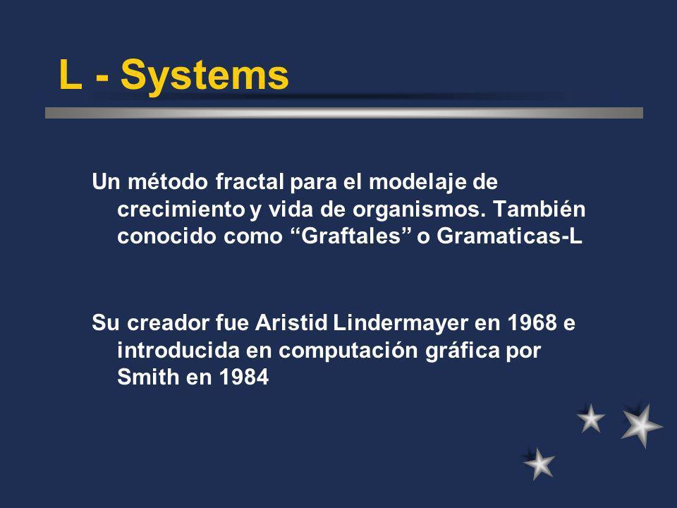 L - Systems Un método fractal para el modelaje de crecimiento y vida de organismos. También conocido como Graftales o Gramaticas-L Su creador fue Aris