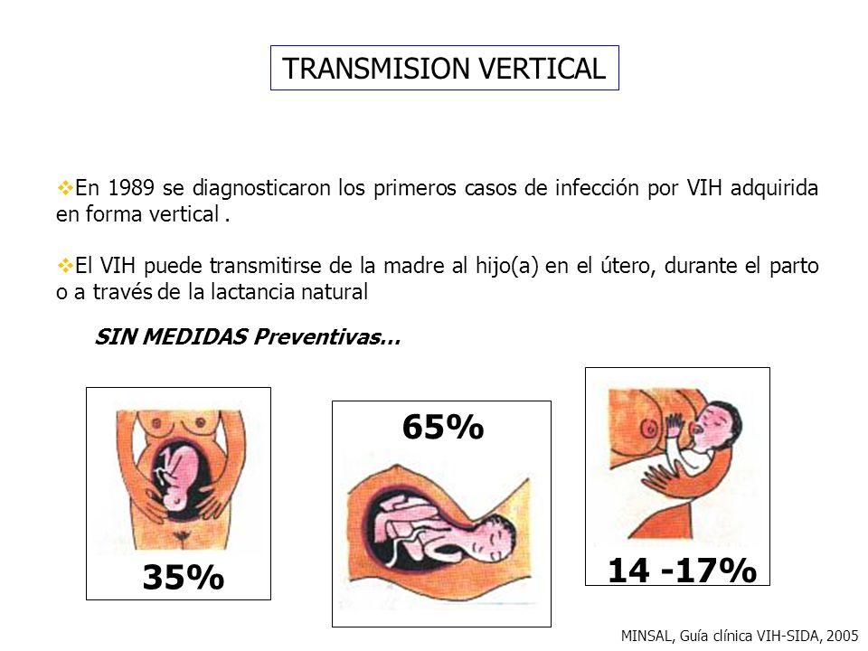 TRANSMISION VERTICAL En 1989 se diagnosticaron los primeros casos de infección por VIH adquirida en forma vertical. El VIH puede transmitirse de la ma