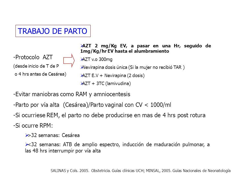 TRABAJO DE PARTO -Protocolo AZT (desde inicio de T de P o 4 hrs antes de Cesárea) -Evitar maniobras como RAM y amniocentesis -Parto por vía alta (Cesá