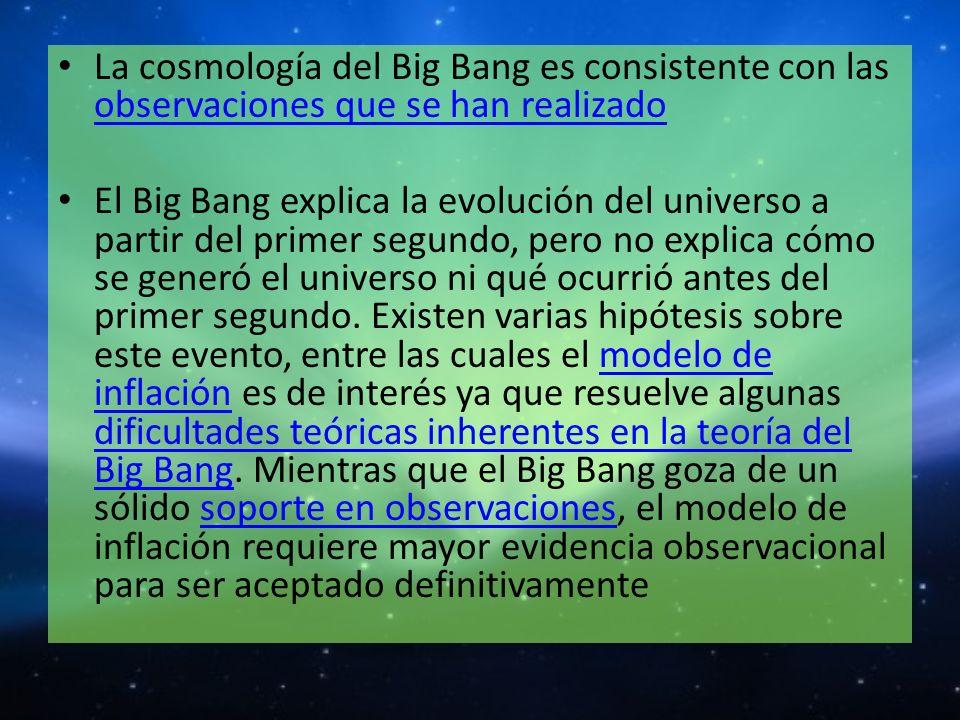 La cosmología del Big Bang es consistente con las observaciones que se han realizado observaciones que se han realizado El Big Bang explica la evoluci