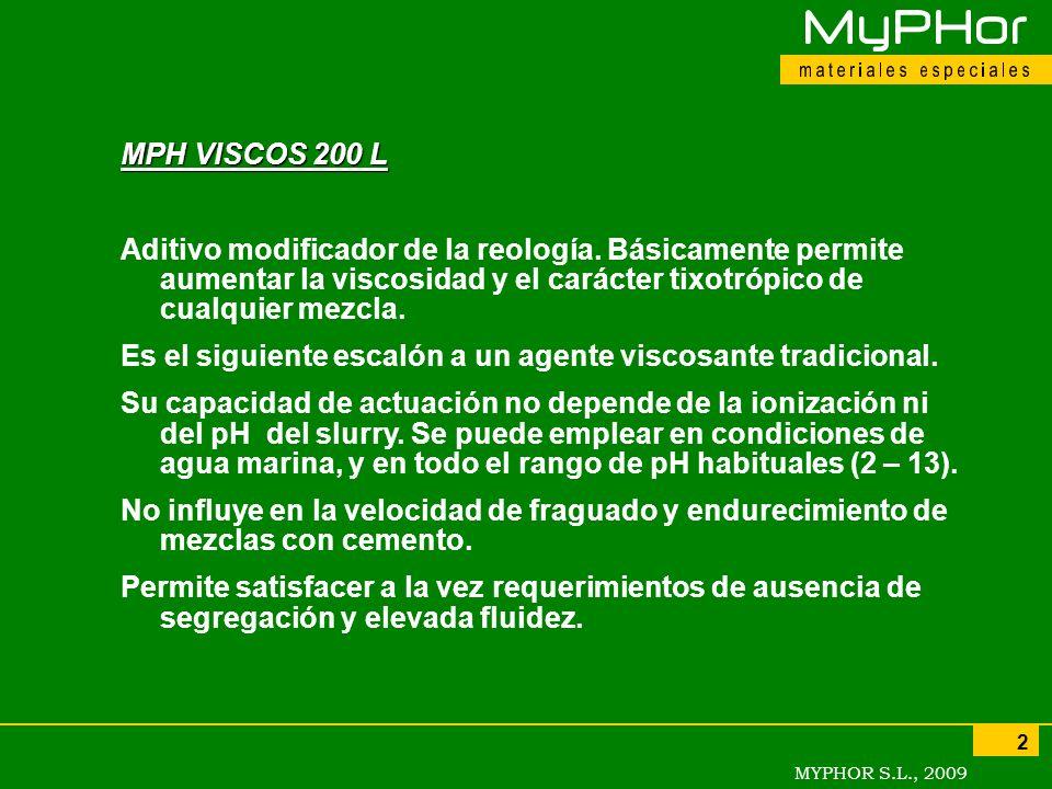 MYPHOR S.L., 2009 2 MPH VISCOS 200 L Aditivo modificador de la reología. Básicamente permite aumentar la viscosidad y el carácter tixotrópico de cualq